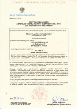 """Certyfikat DPD dla """"PDF SLAWEX"""" Sp. z o.o. Oddział Warszawa"""