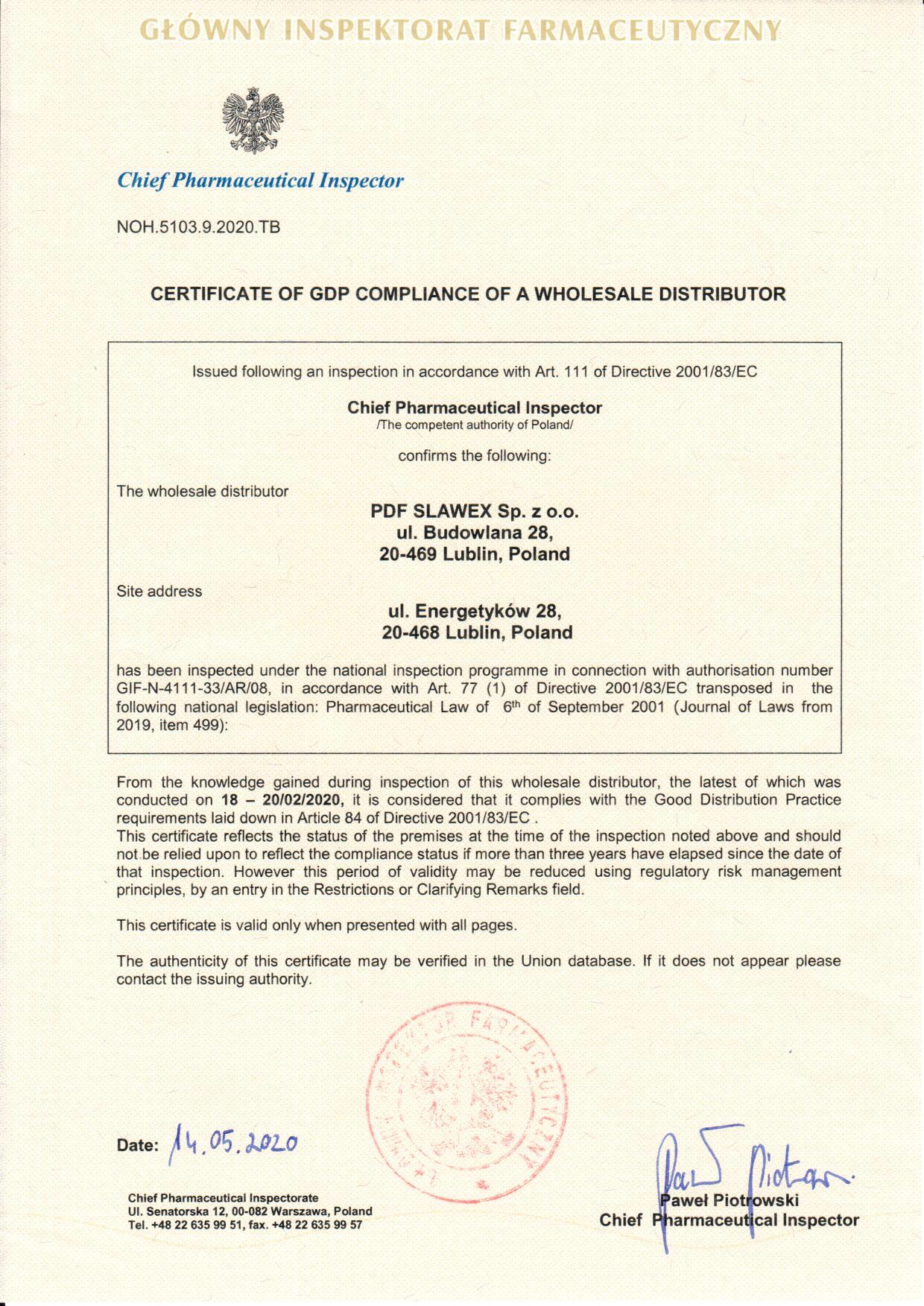 """Certyfikat DPD dla """"PDF SLAWEX"""" Sp. z o.o. Oddział Lublin"""